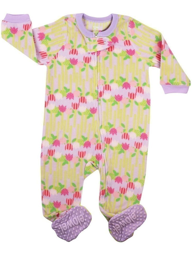 Elowel Little Girls Yellow Pink Flower Print Footed Fleece Sleeper Pajama