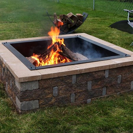 Sunnydaze Large Square Fire Pit Ring Insert Diy Firepit Rim Liner Above Or In Ground Outdoor Heavy Duty 2 0mm Steel 36 Inch Outside Diameter