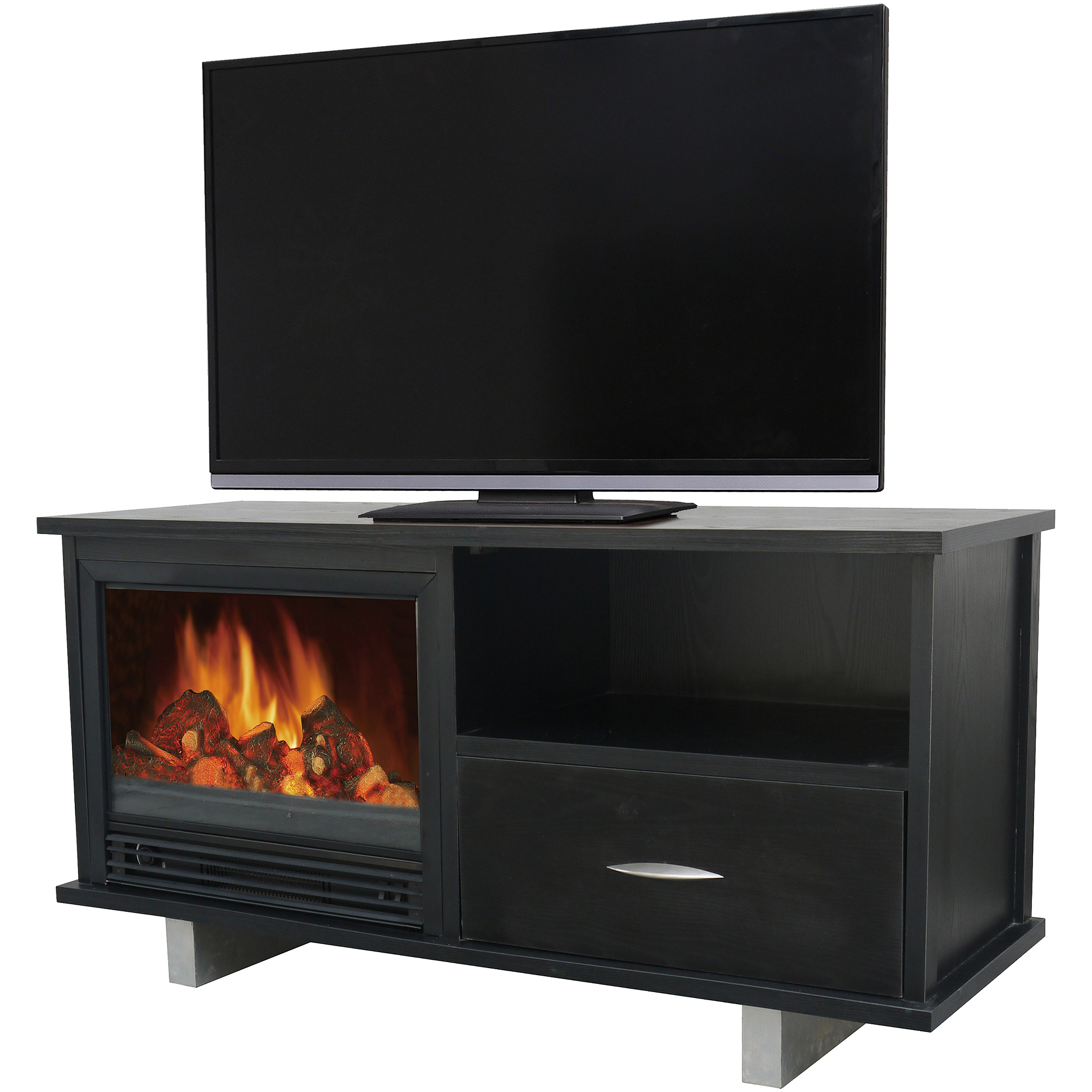 "Decor Flame Media Electric Fireplace for TVs up to 60"", Black"