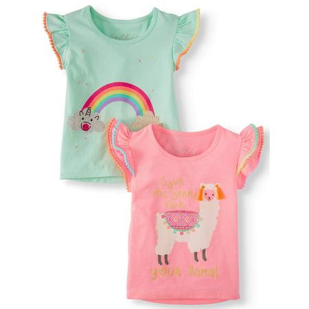 Pom-Pom Trim Graphic T-Shirts, 2-Pack (Little Girls & Big Girls)