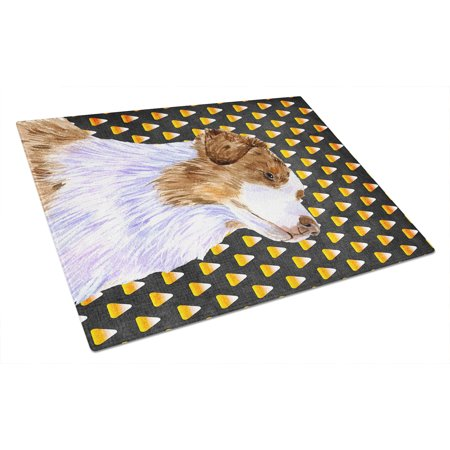 Caroline's Treasures Australian Shepherd Candy Corn Halloween Portrait Glass Cutting Board Large](Woolworths Australia Halloween)