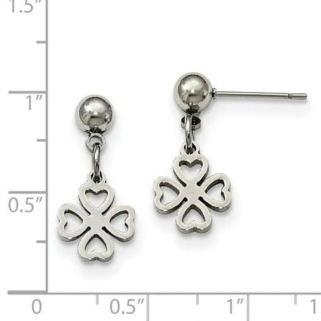 02ed78e5a Stainless Steel Clover Post Dangle Earrings - image 1 of 3 ...