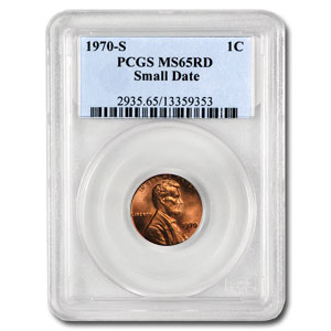 1970-S Lincoln Cent Small Date MS-65 PCGS (Red)