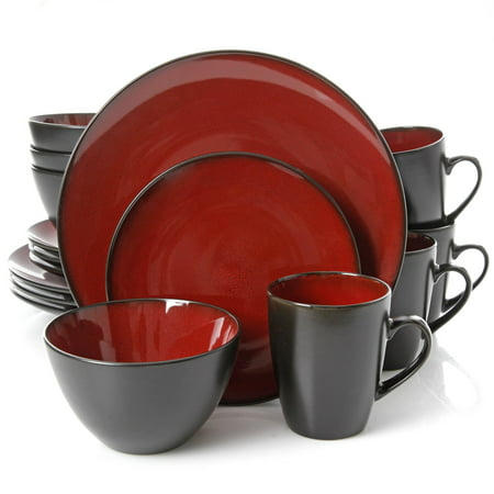Gibson Home Soho Lounge Square 16 Pc. Dinnerware Set, Red ()