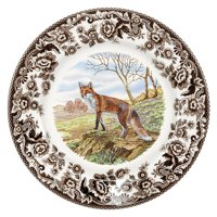 """1607279 Woodland Red Fox Salad Plate, Salad plate measures 8.0"""" in diameter By Spode,USA"""