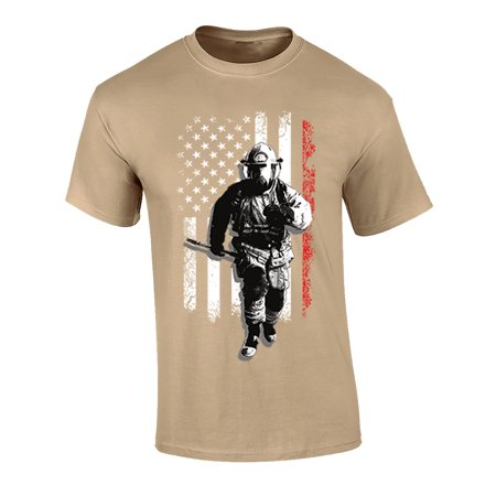 Image of Fireman USA Flag Adult Unisex Short Sleeve T-Shirt-Tan-Small