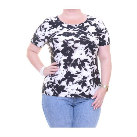 JM Collection GARDEN COLLAGE Top Blouse Short Sleeve Size P/SM NWT - Movaz