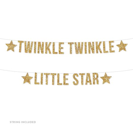 Gold Twinkle Twinkle Little Star Glitter Banner (Includes String No Assembly Required) - Valentine Banner