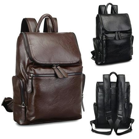 Men Leather Backpack Laptop School Shoulder Bag Travel Rucksack