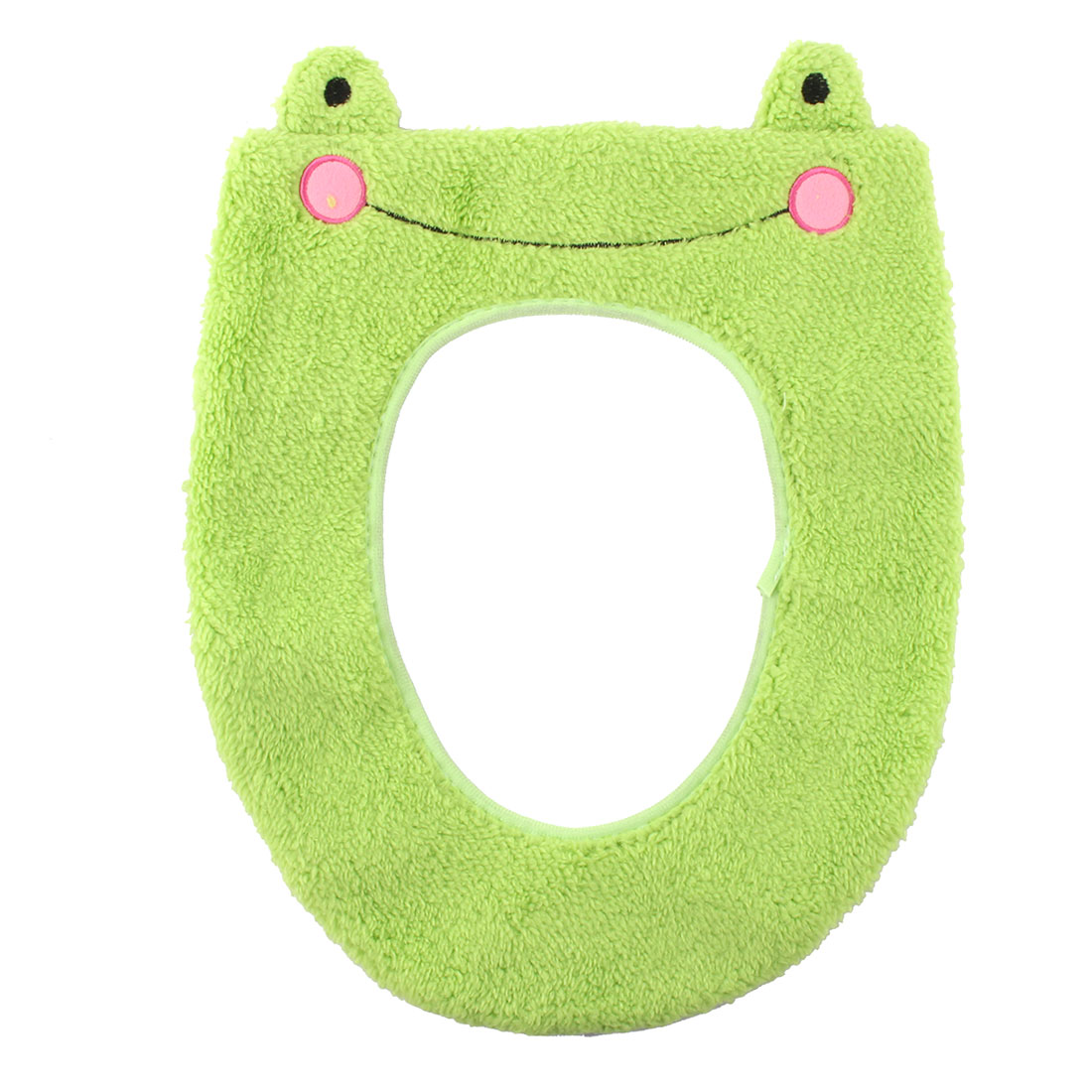 Unique Bargains Toilet Plush Frog Pattern Stool Washable Warmer Seat Cover Green