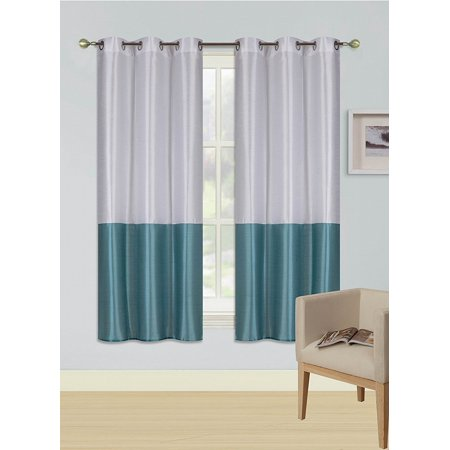 Metallic White (1pc WHITE TEAL HEIDI Faux Silk Drape Panel Top Chrome Metallic Grommet Window Curtain Treatment Drape 2 Shade 37 wide x 63)