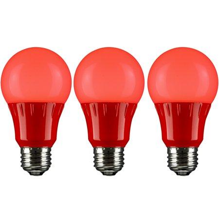 Pack of 3 Sunlite LED A Type Colored 3W Light Bulb Medium (E26) Base, Red