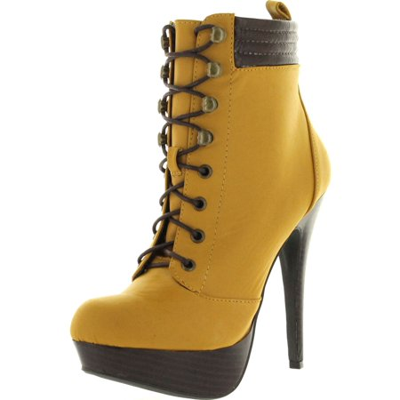 Bamboo Womens Ericka-49 Popular High Heel Lace Up Booties