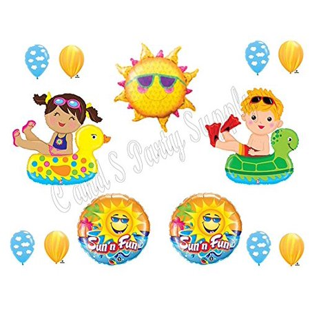POOL PARTY Swimming Birthday Balloons Decoration Supplies Ocean Floaties Luau