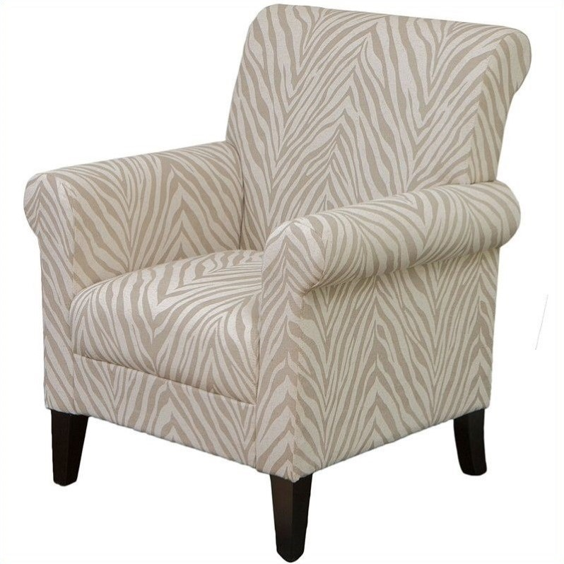 trent home frederick fabric club arm chair in beige animal print