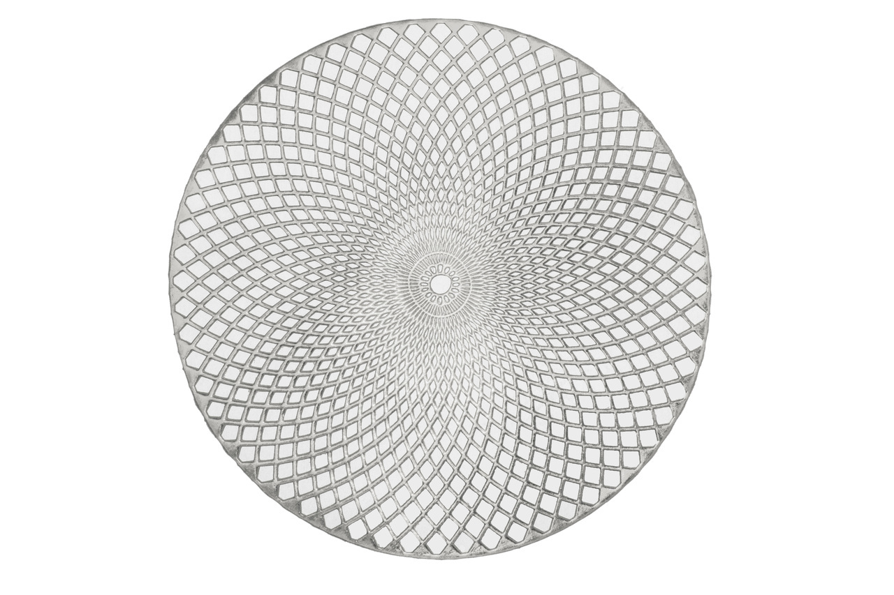 "Holiday Decorative 15"" Round Vinyl Spiral Placemat, Set of 4 (Silver) by Kashi Home"