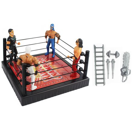 Ultimate Wrestling Match Action Figure Toy Playset with 4 Wrestlers and Wrestling Weapons! Comes with Ring!