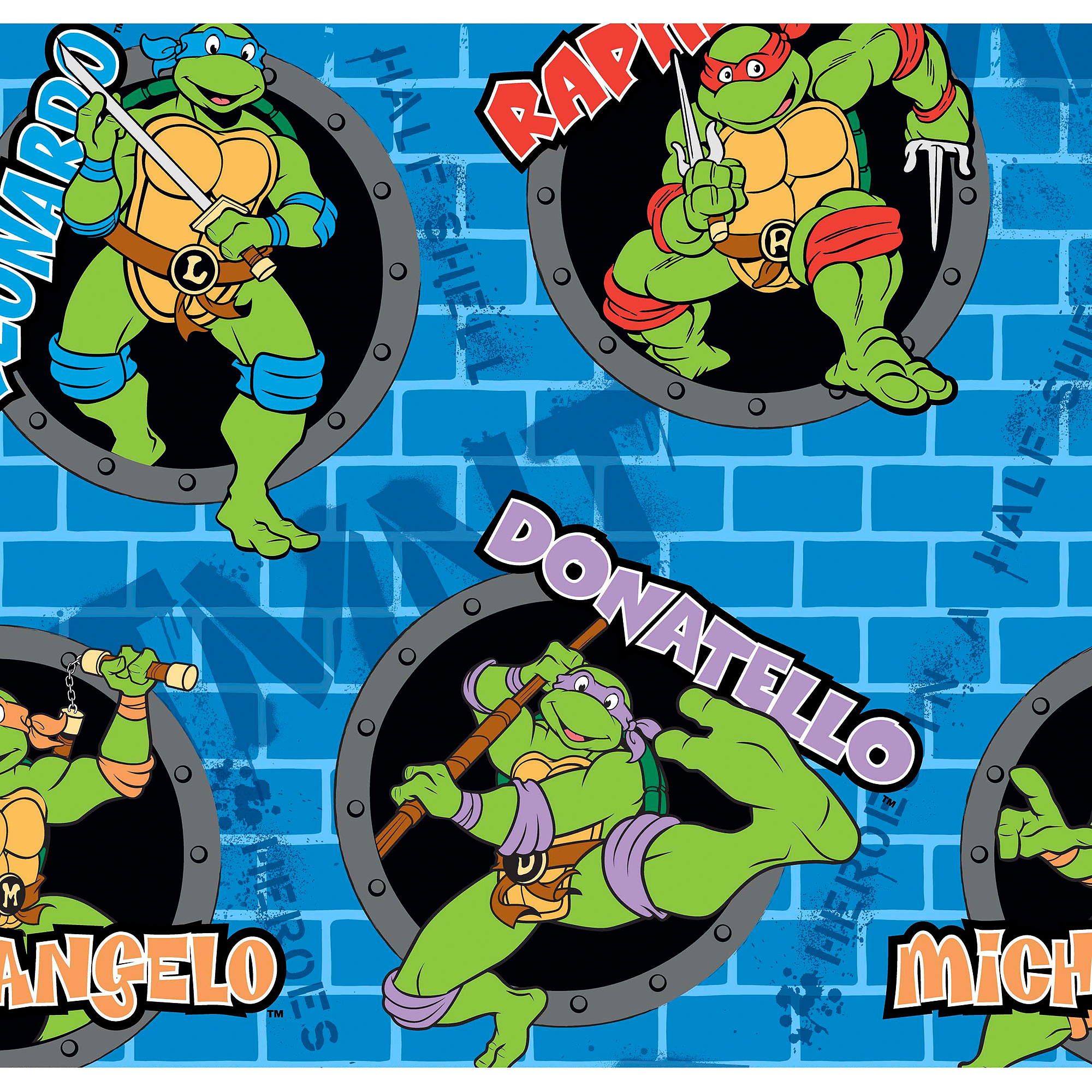 Teenage Mutant Ninja Turtles Power Sewer Holes and Names Fleece Fabric by the Yard