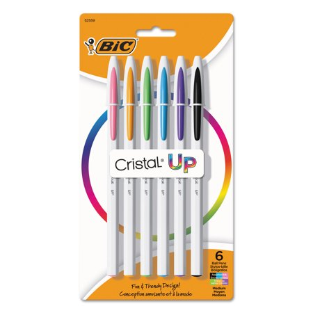 Cristal Up Stick Ballpoint Pen, Medium 1.2mm, Assorted Ink, White Barrel, 6/Pack
