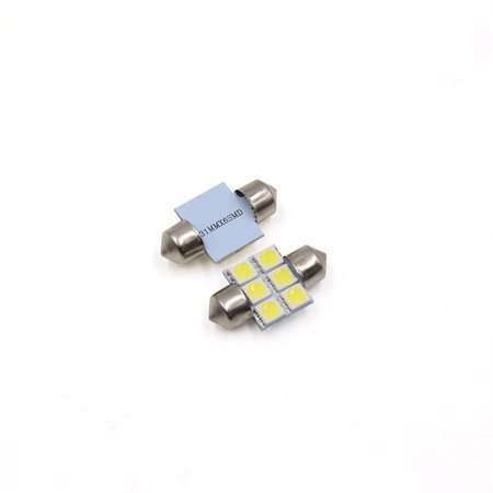 16pcs White 31mm 5050 SMD 6 LED Car Lights Festoon Interior Dome Map Lamp Bulb - image 2 of 3