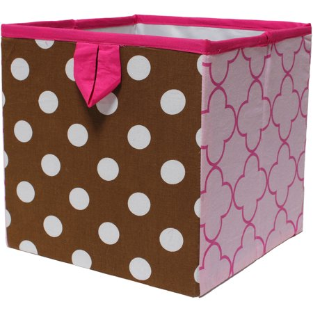 Bacati - Butterflies/Ladybugs Pink/Chocolate Cotton Percale Fabric covered Storage, Small Box, 10 L  x 10 W x 10 H inches