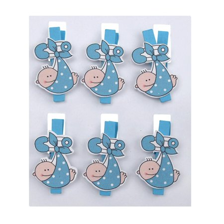 Baby with Safety Pin Wooden Clothespins Favors, 2-Inch, 6-Piece, Blue - Blue Clothespins