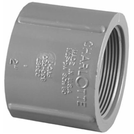 Charlotte Pipe & Foundry PVC 08102  1200HA Pipe Fitting, PVC Coupling, Gray, FPT x FPT, 3/4-In. - Quantity 1