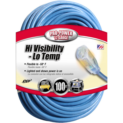 Coleman Cable 12 3 SJTW Cold Weather Outdoor 100' Extension Cord with Power Indicator Light, Blue by Generic