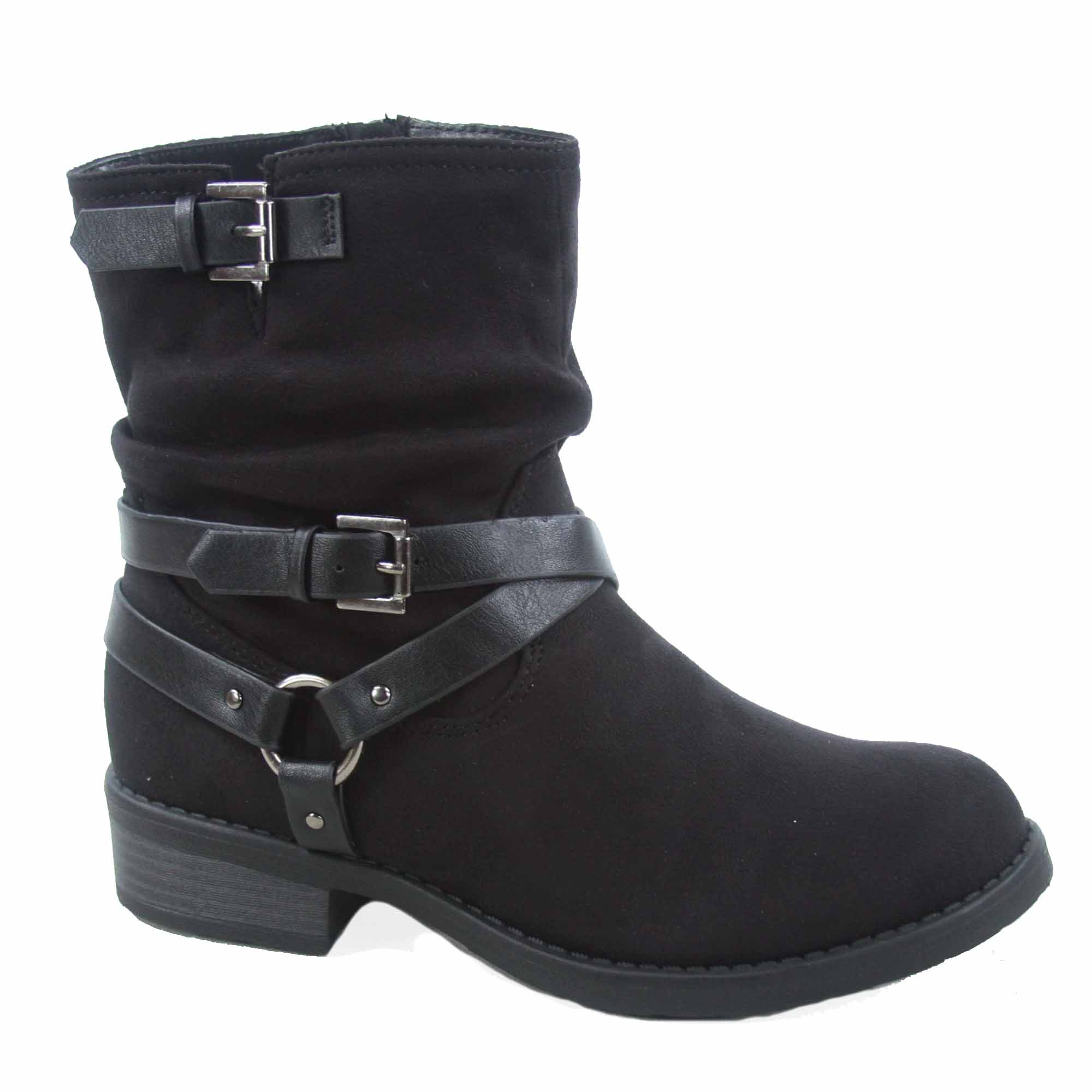 Ladies Womens Boots Faux Fur Collar Twin Buckle Inside Zip Mid Calf Shoes Size