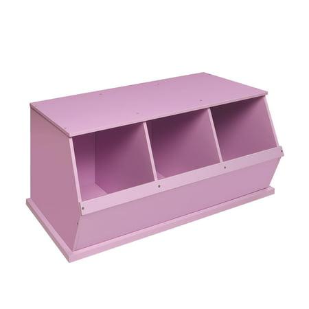 Badger Basket 3-Bin Stackable Wood Storage Cubby/Bin, Lilac