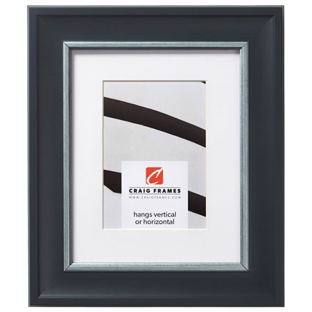 Craig Frames Martin, 12 x 12 Inch Black and Silver Picture Frame Matted to Display a 9 x 9 Inch Photo