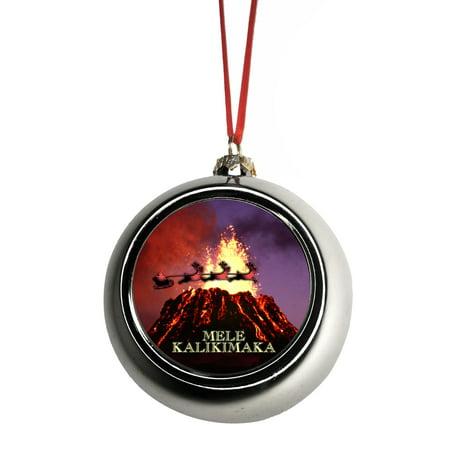 Santa Klaus and Sleigh Riding Over Pu?u ???? Volcano Hawaii USA Mele Kalikimaka Bauble Christmas Ornaments Silver Bauble Tree Xmas