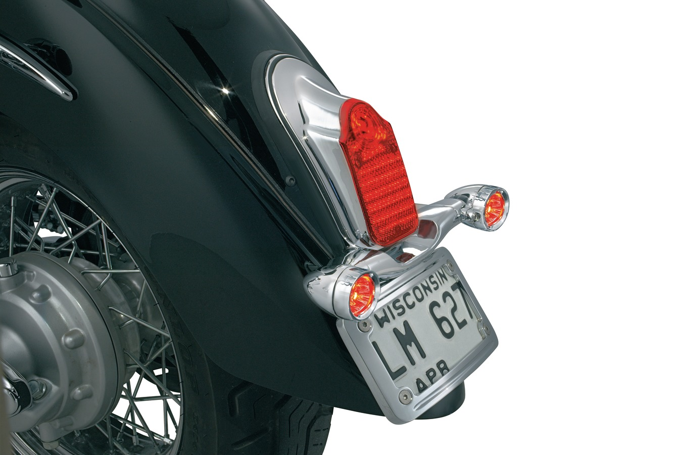 Tombstone Motorbike LED Stop /& Tail Light Chrome for Custom Retro Project