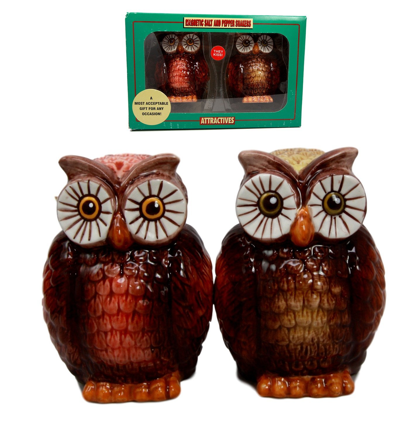 Nocturnal Tropical Great Horned Owl Couple Ceramic Salt Pepper Shakers Set Figurines