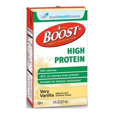 Boost High Protein Very Vanilla, 8 Ounce Carton, by Nestle - Case of 27