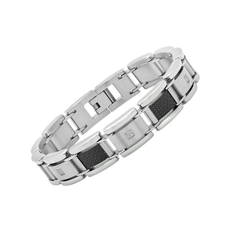 Men's Diamond Accent Stainless Steel and Black Carbon Fiber Bracelet, - Carbon Fiber Stainless Magnetic Bracelet