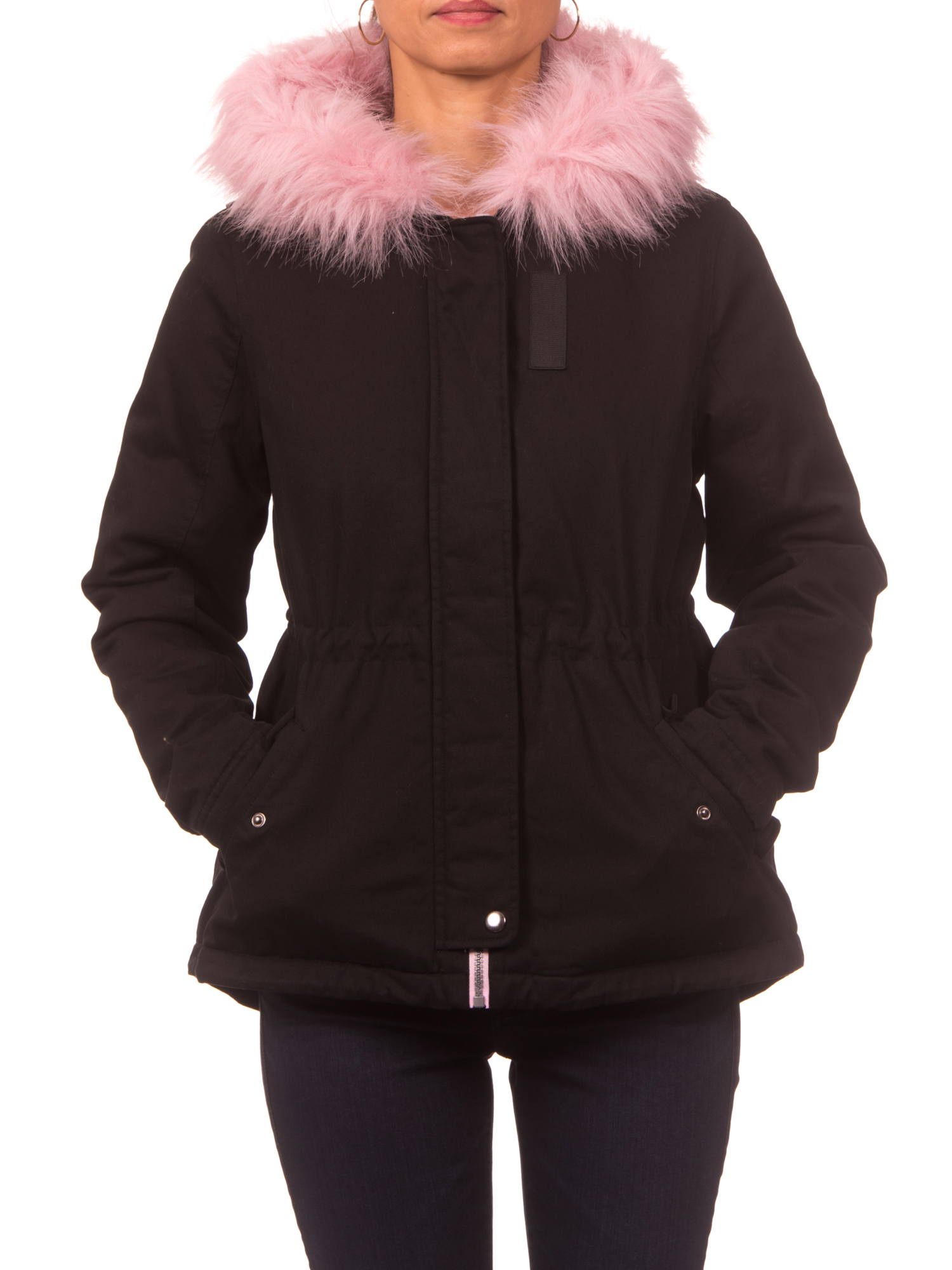 Pink Platinum Juniors' Twill Anorak Jacket with Plush Lining & Faux Fur-Trimmed Hood