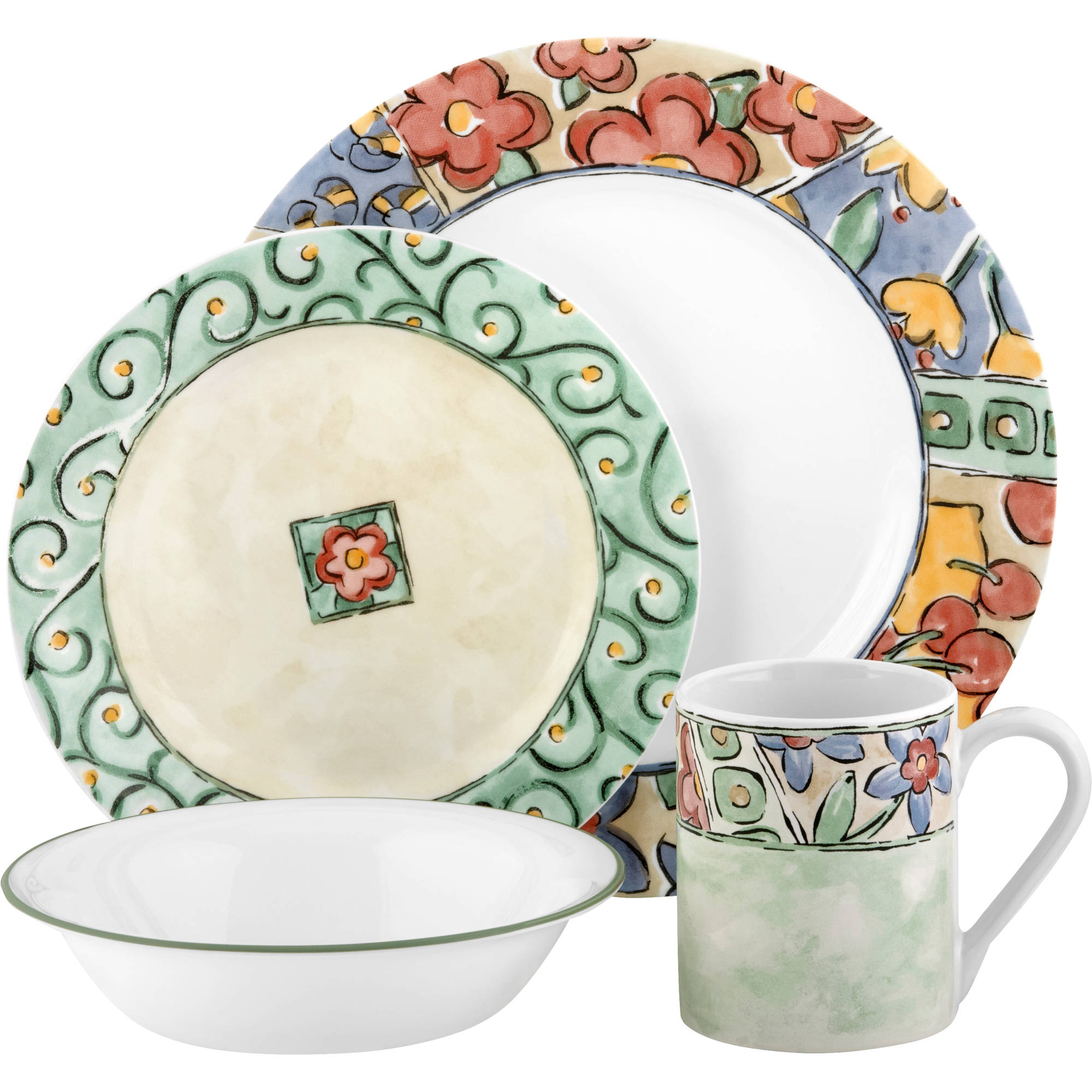 Corelle Impressions 16 Piece Dinnerware Set Watercolors Dinner Dishes Round NEW | eBay  sc 1 st  eBay & Corelle Impressions 16 Piece Dinnerware Set Watercolors Dinner ...