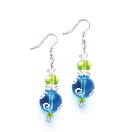 Tropical Bright Blue Rhinestone Gl Beaded Kate And Macy Earrings