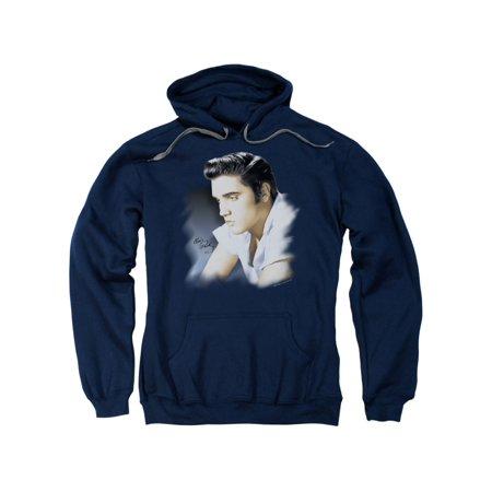 Elvis Presley The King Rock Blue Profile Adult Pull-Over - Elvis Hoodie