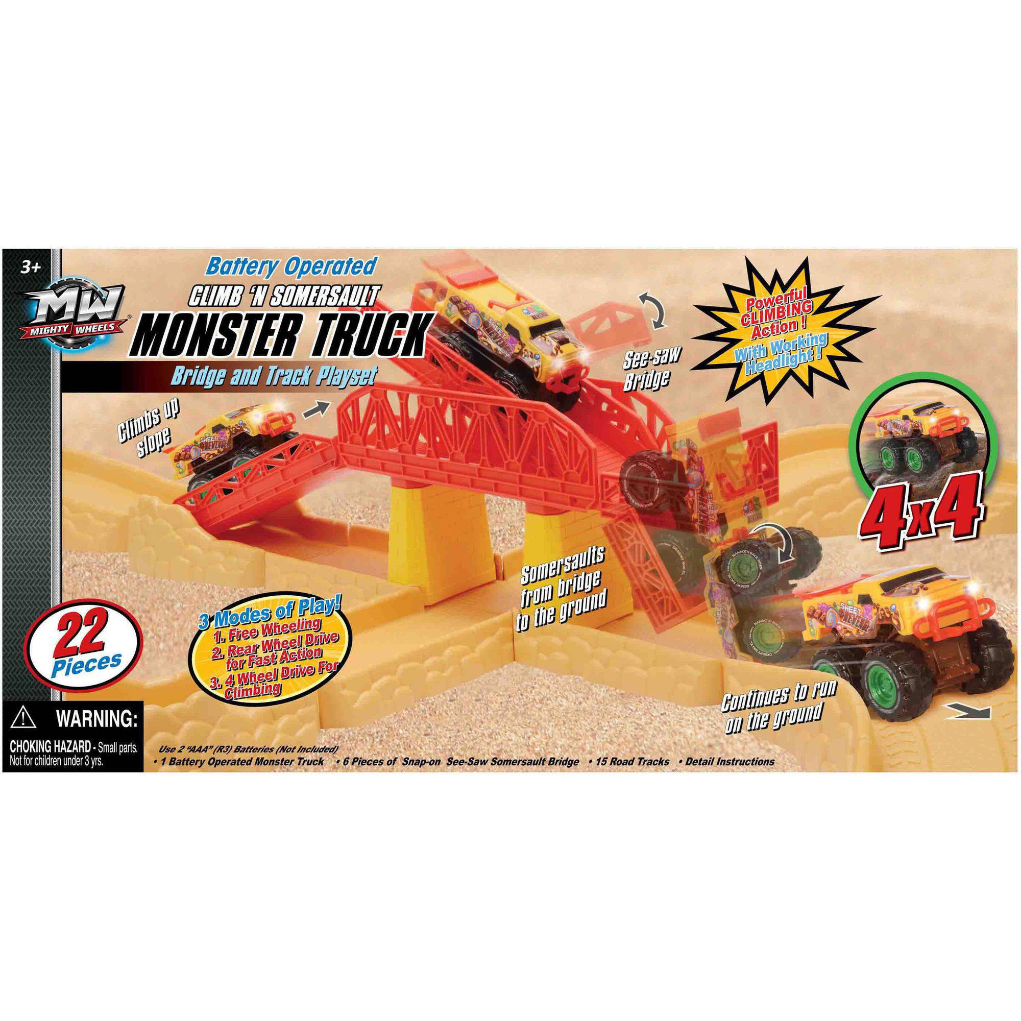 Battery Operated Monster Truck Somersault Bridge and Tracks Set