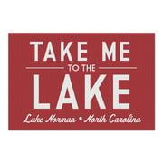 Lake Norman, North Carolina - Take Me to the Lake - Simply Said (Red) 102938 (20x30 Premium 1000 Piece Jigsaw Puzzle, Made in USA!)