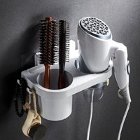 Wall Mounted Hair Dryer Holder / Adhesive Hanging Hair Dryer Rack Bathroom Punch-free Hair Dryer Shelf Storage Organizer with 1 Cup