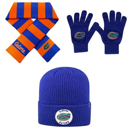 37c3f5382 NCAA Florida Gators Wharf Beanie Hat TOW Knit Glove And Striped Rugby Scarf  3 Pack Bundle - Walmart.com