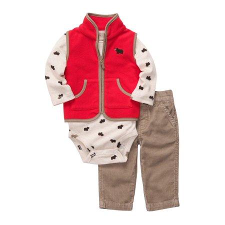 Carters Infant Boys 3 Piece Bear Outfit Corduroy Pants Creeper & Jacket Vest