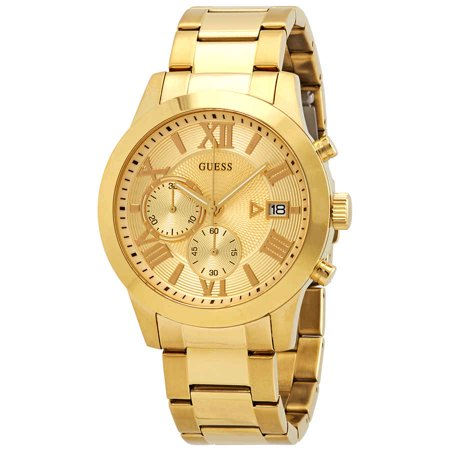 Guess Classic Chronograph Champagne Dial Yellow Gold-tone Men's Watch (Guess The Designer)