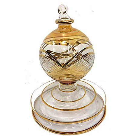 Christmas Tree Ornament, elaborate pattern over Arches and Angles in gold over clear glass. Handmade in Egypt. ()