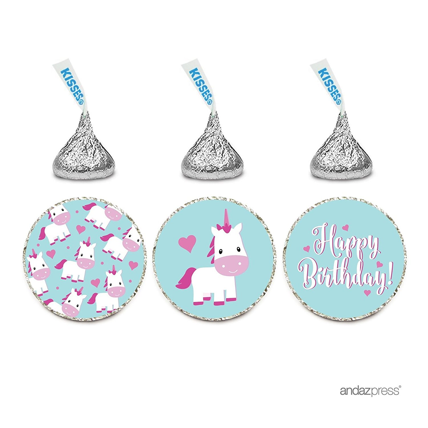 Birthday Chocolate Drop Labels Trio, Fits Hershey's Kisses Party Favors, Unicorn Happy Birthday, 216-Pack
