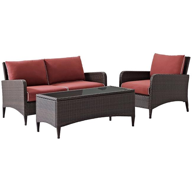 Kiawah 3-Piece Outdoor Wicker Conversation Set with Sangria Cushions - Brown