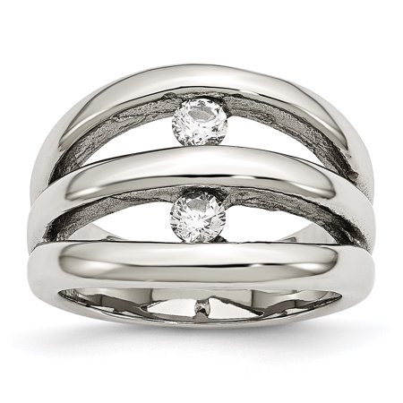 Stainless Steel Polished CZ Ring 9 Size - image 7 de 7